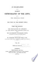 An Examination of the Ancient Orthography of the Jews Book PDF