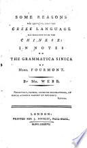 Some Reasons For Thinking That The Greek Language Was Borrowed From The Chinese