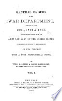 General Orders of the War Department, Embracing the Years 1861, 1862 & 1863
