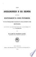 Das Ansiedlungswesen in der Bukowina seit der Besitzergreifung durch Österreich