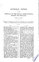 General Index To The First Series Of The Journal Of The Royal Agricultural Society Of England  Book PDF
