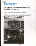 Best Practices for Photovoltaic Household Electrification Programs