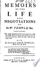 Memoirs Of The Life And Negotiations Of Sir W Temple Bar
