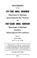 Proceedings of the     Annual Encampment of the Department of Michigan  United Spanish War Veterans    Book