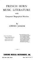 French Horn Music Literature With Composers Biographical Sketches