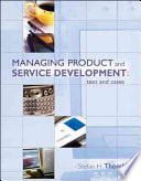 Managing Product and Service Development: Text and Cases