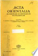 Acta Orientalia Academiae Scientiarum Hungaricae