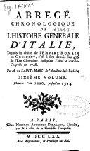 Abregé chronologique de l'histoire générale d'Italie