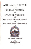 Acts And Laws Passed By The Legislature Of The State Of Vermont At Their Session At Windsor Etc