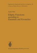 Elliptic Functions According to Eisenstein and Kronecker