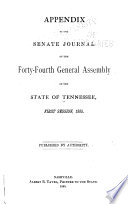 Appendix To The Senate And House Journals Of The General Assembly Of The State Of Tennessee