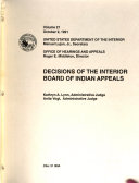 Decisions of the Interior Board of Indian Appeals Book