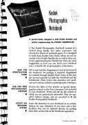 Kodak Photographic Notebook for Material Supplementing the Kodak Handbooks Book PDF