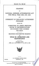 Hearings on National Defense Authorization Act for Fiscal Year 1994