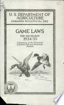 Game Laws For The Season 1934 35 Book PDF