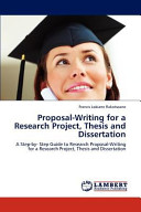 Proposal Writing for a Research Project  Thesis and Dissertation