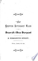 The Groton Literary Club In Search Of The Sea Serpent