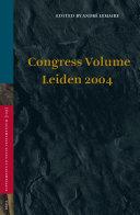Pdf Congress Volume Leiden 2004