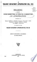Treasury Department Appropriation Bill  1924 Book