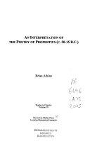 An Interpretation of the Poetry of Propertius  50 15 B C   Book PDF