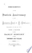 Proceedings of the Fortieth Anniversary of the Presbyterian Church of Mt. Gilead, November 1st and 2d, 1871