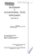 Dictionary of Occupational Titles  Supplement  Edition III