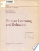 Human Learning and Behavior Book