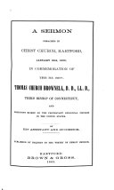 A Sermon Preached in Christ Church, Hartford, January 29th, 1865 in Commemoration of the Rt. Rev. Thomas Church Brownell, D.D., LL.D.