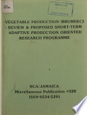 Vegetable Production Brumdec Review Proposed Short Term Adaptive Production Oriented Research Programme