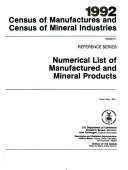 1992 Census of Manufactures and Census of Mineral Industries