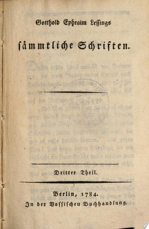 Gotthold Ephraim Lessings Sämmtlic