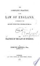 practice of the law of evidence - with a chapter on the measure of damages