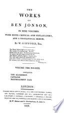 The Works of Ben Jonson, in Nine Volumes: The alchemist ; Catiline ; Bartholomew fair