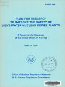 Plan for Research to Improve the Safety of Light water Nuclear Power Plants