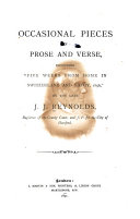 Occassional Pieces in Prose and Verse