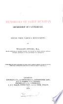 Memorials of Saint Dunstan  Archbishop of Canterbury