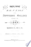Quarter Century Re union of the Jefferson College Class of 1856  at Washington  Pa   June 21  1881