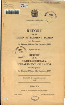 Report of the Land Settlement Board Book