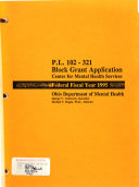 P L  102 321 Block Grant Application  Center for Mental Health Services