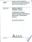 Employment Verification Challenges Exist In Implementing A Mandatory Electronic Verification System Book PDF