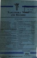 Tanzania Notes and Records Book