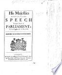His Majesties most gracious Speech to both Houses of Parliament on Saturday the 30th of May  1685 Book
