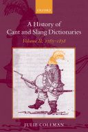 Pdf A History of Cant and Slang Dictionaries Telecharger