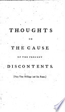 Thoughts on the Cause of the Present Discontents  By Edmund Burke