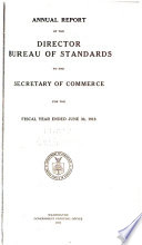 Annual Report of the Director - Bureau of Standards