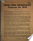 Home Food Preservation Program for 1946