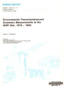Environmental Thermoluminescent Dosimetry Measurements At The Wipp Site 1976 1985