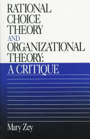 Rational Choice Theory and Organizational Theory