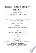 The Married Women's Property Act, 1882