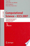 Computational Science - ICCS 2007  : 7th International Conference, Beijing China, May 27-30, 2007, Proceedings